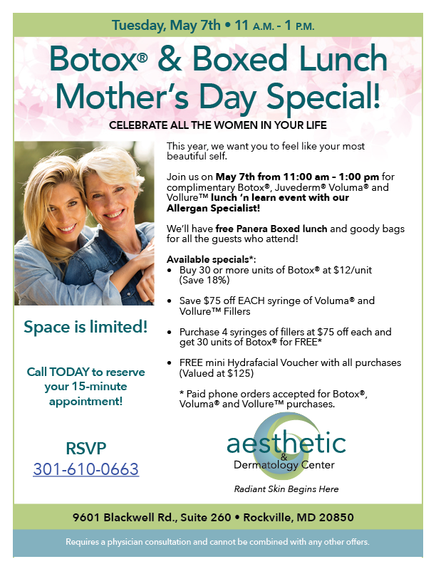 Botox & Boxed Lunch Mother's Day Special - Aesthetic